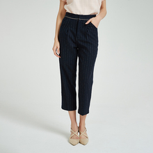 <strong>Women's</strong> Straight stripped Casual Business Office 100% wool <strong>Trousers</strong> Flat Front <strong>Pants</strong>