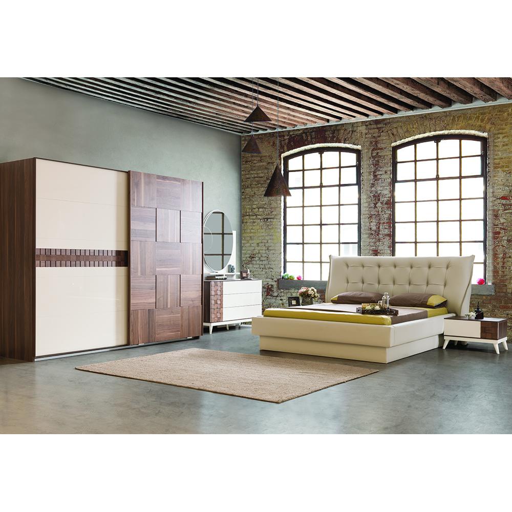 Berrak Walnut White Ekru Bedroom Furniture Set High Quality