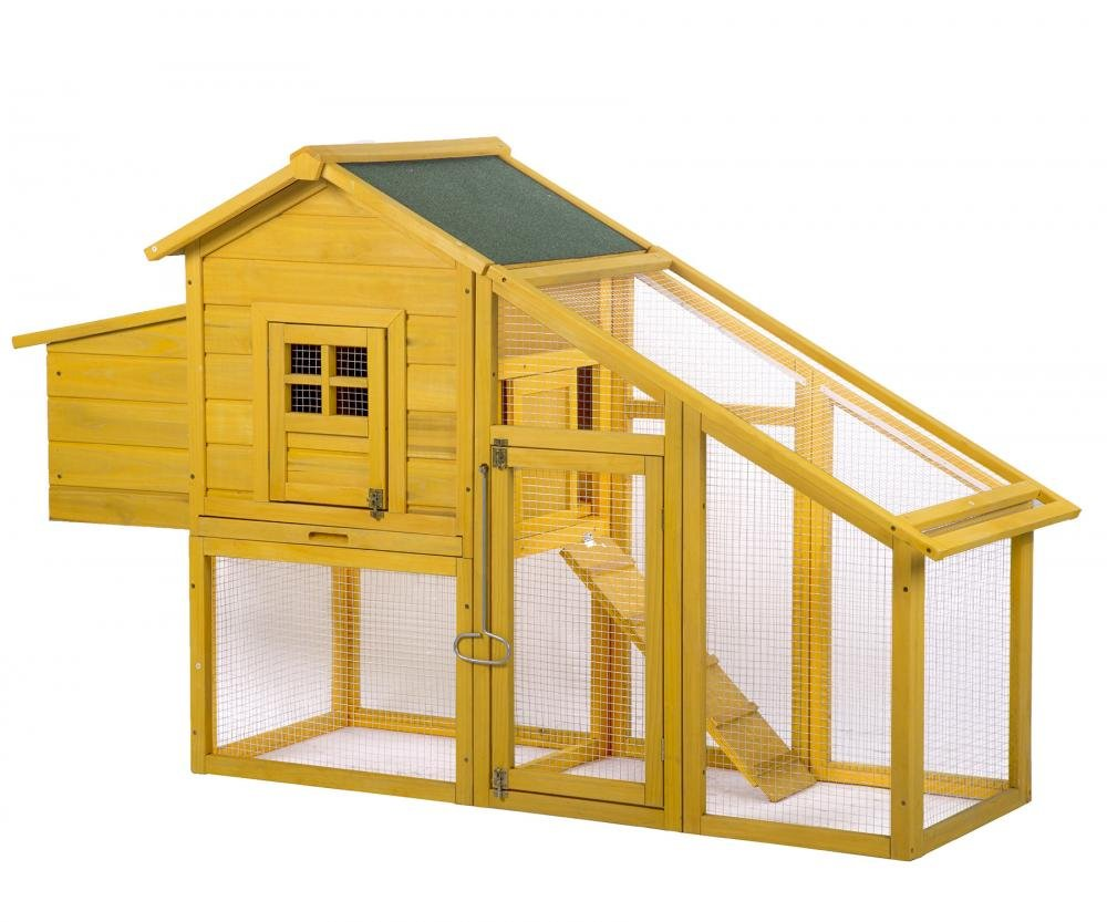 Wooden Chicken Coop House Poultry Pet Cage Backyard Nest Box w/Run Yard BestMassage
