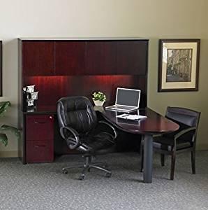"""Mayline L-Shaped Peninsula Desk W/Hutch Overall Dimensions: 72""""W X 80""""D X 68""""H Credenza: 72""""W X 20""""D X 29.5""""H Peninsula Return: 60""""W X 30""""D X 29.5""""H Hutch: 71.75""""W X 15""""D X 38.5""""H - Mahogany"""