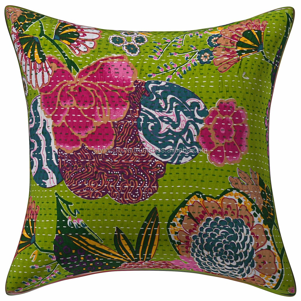 Decorative Jaipur Printed Kantha Cushion Cover Throw Sofa 16X16 Boho Tropical Fruit Parrot Green Cushion Cases Cover