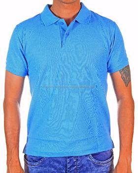 Plain Blank Polo T Shirt Honeycomb Pique Light Sky Blue Color For Uni Men And
