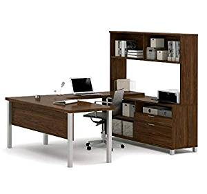 "Bestar U-Shaped Desk W/Hutch 71""W X 89""D X 68 5/8""H Features Square Metal Legs, A Hutch For Extra Storage & A 1.5"" Thick Desk Surface & 1"" Thick Credenza Surface - Oakbarrel"