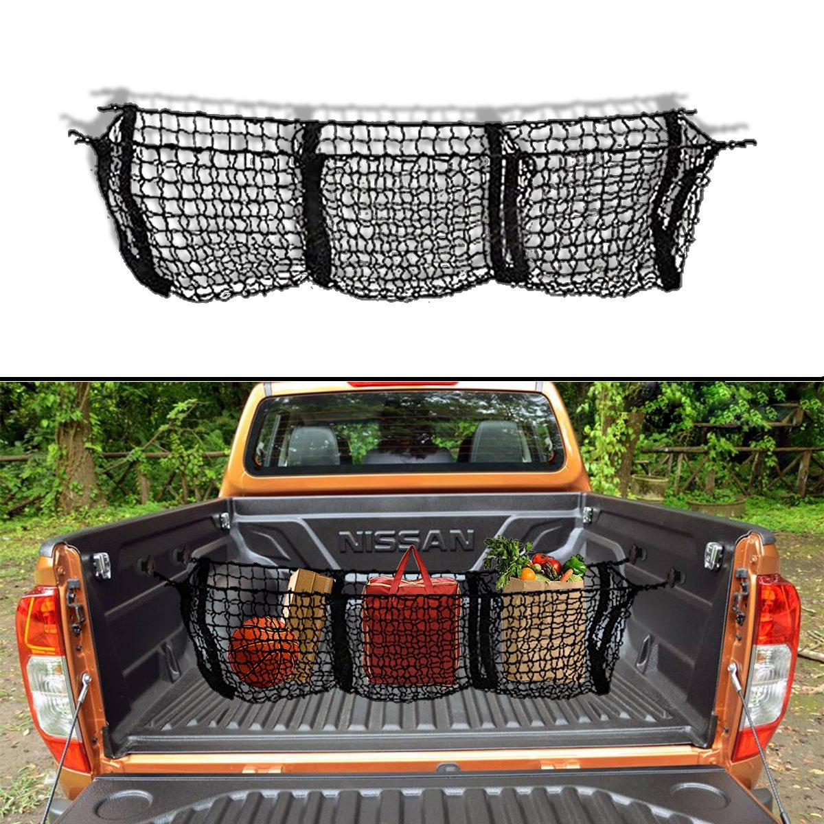 VaygWay Truck Accessories - Automotive Black Three Pocket Black Mesh Hammock Storage Trunk Car Organizer Truck Bed Cargo Net