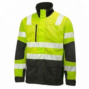 Fluorescent Water & Oil Resistant/Safety Hi Vis Workwear Uniform Jacket/ With Reflective Stripes