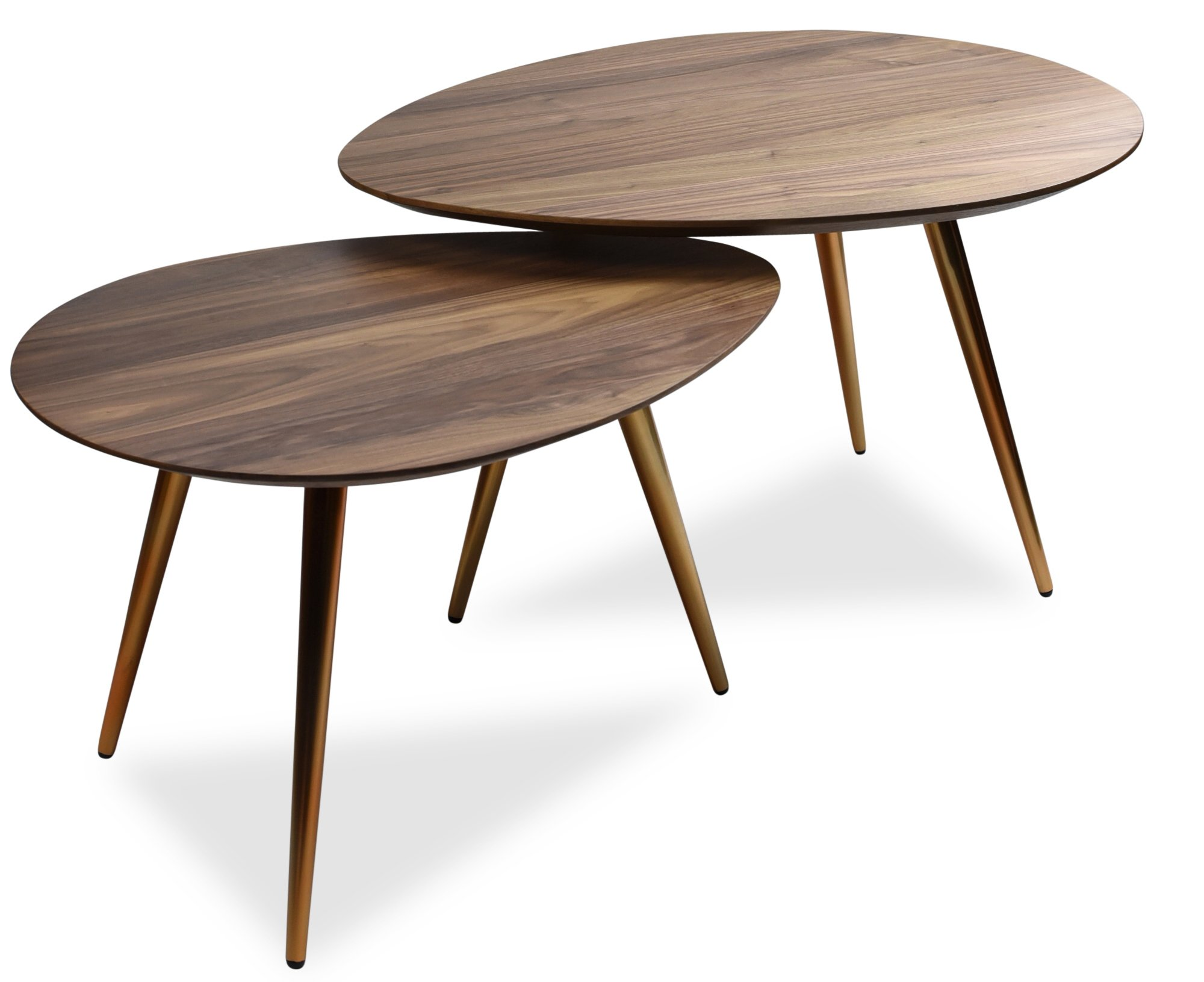 Mid Century Modern Coffee Table Set by Edloe Finch - Coffee Tables for Living Room - Contemporary & Retro Low Walnut Wood Midcentury Nesting Table - 2 Piece Set
