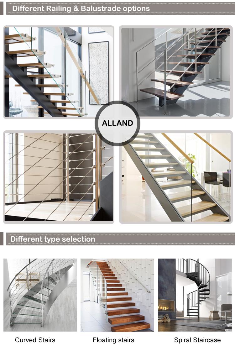 Indoor massief hout trap ontwerp rvs pijler trap