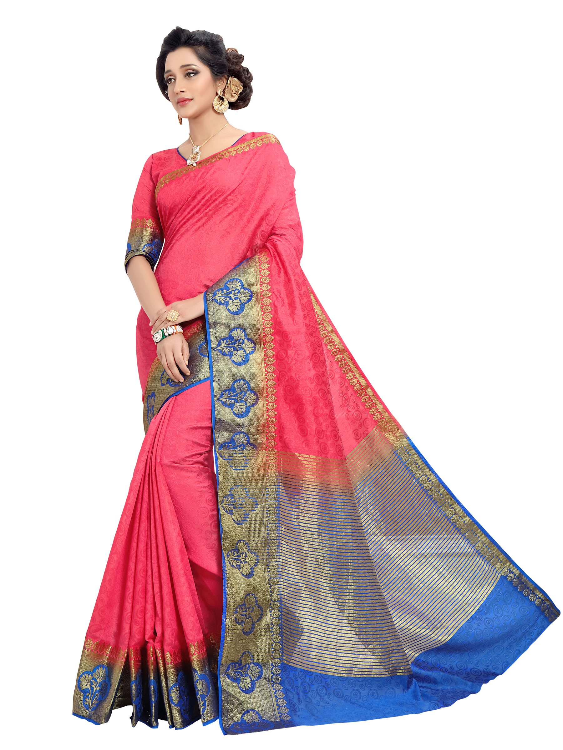 Rajnandini Women's Jacquard Silk Weaving Work Saree(JOPLLB1029_Peach_Free Size)