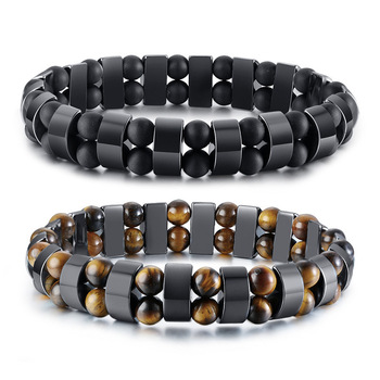 New fashion elastic rope tiger eye stone hematite magnetic bracelet
