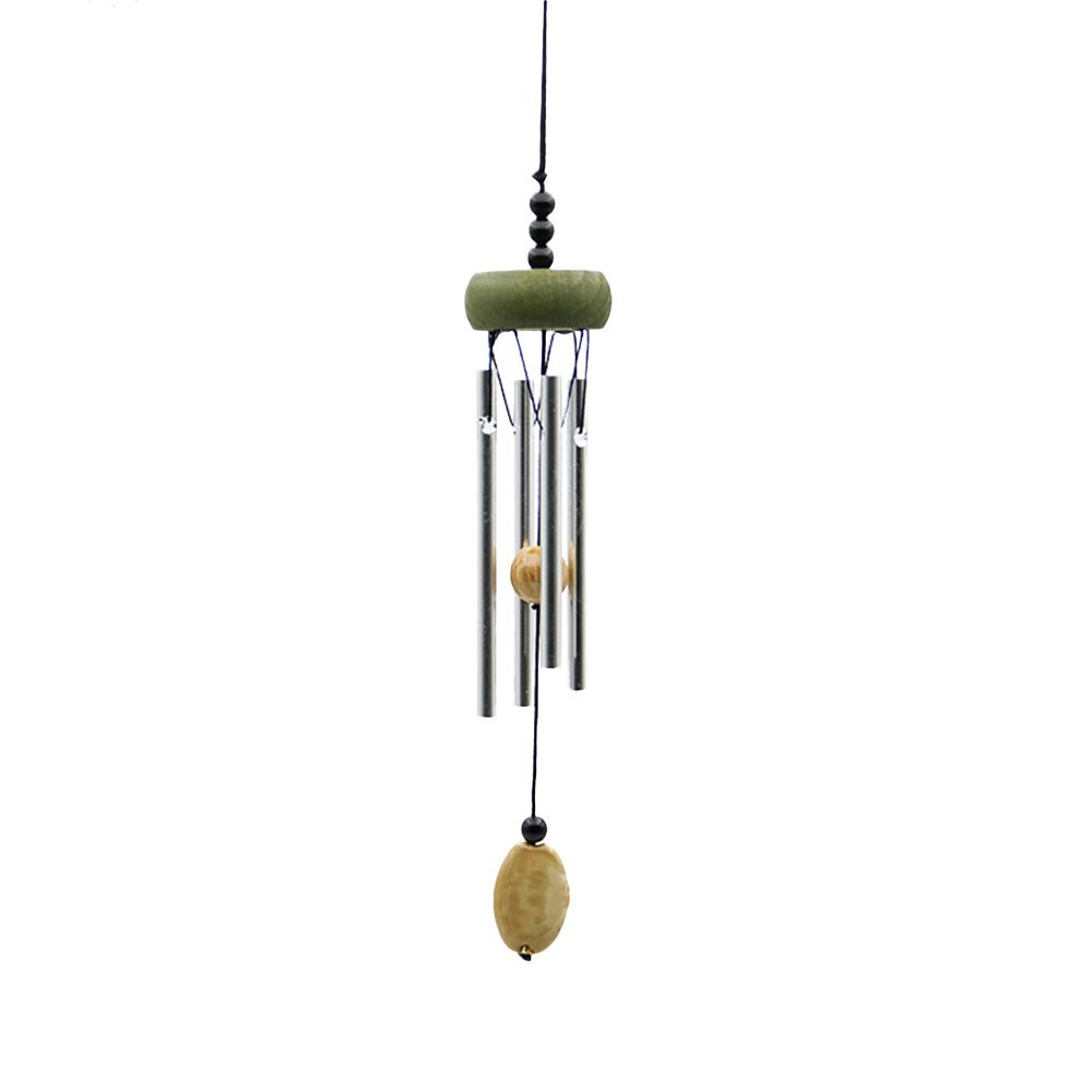yazi 4 Solid Tubes Wind Chimes Healing Sound Wood Metal Tube Wind Chime Healing WOOD With Metal Sound Home Yard Garden Outdoor Living Décor 11.8''Length