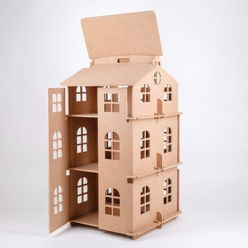 wooden doll house Three-storey with doors doll house for sale