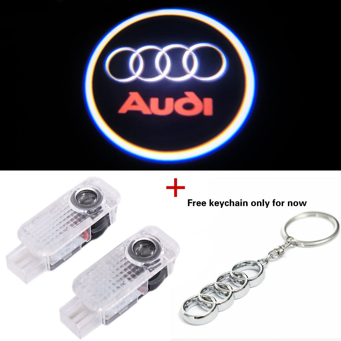BAILONGJU Easy Installation Car Door LED Logo Projector Ghost Shadow Lights compatible with Audi A4 A3 A6 Q7 Q5 A1 A5 TT A8 Q3 A7 R8 RS 2-pc Set