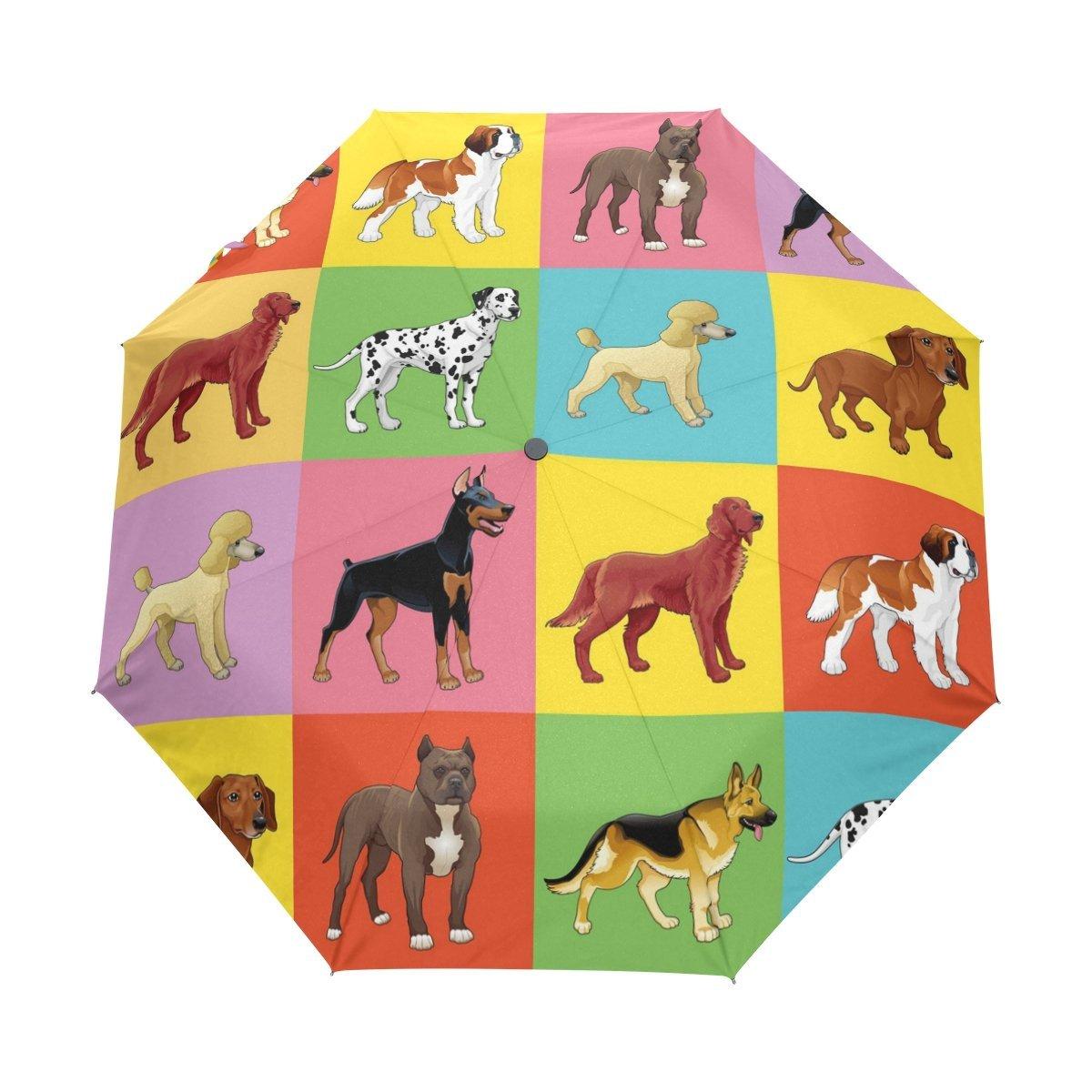 WOZO Hipster Puppy Dog Pug Dachshund 3 Folds Auto Open Close Umbrella