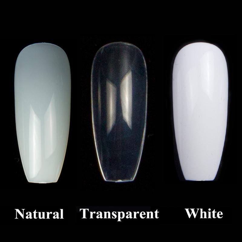 600pcs/bag Ballerina Nail Art Tips Transparent/natural False Coffin ...