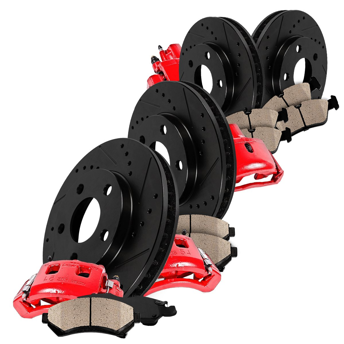 FRONT 4 Ceramic Pads Performance Kit Quiet Low Dust 8 Rotors REAR Powder Coated Red 4 Calipers +