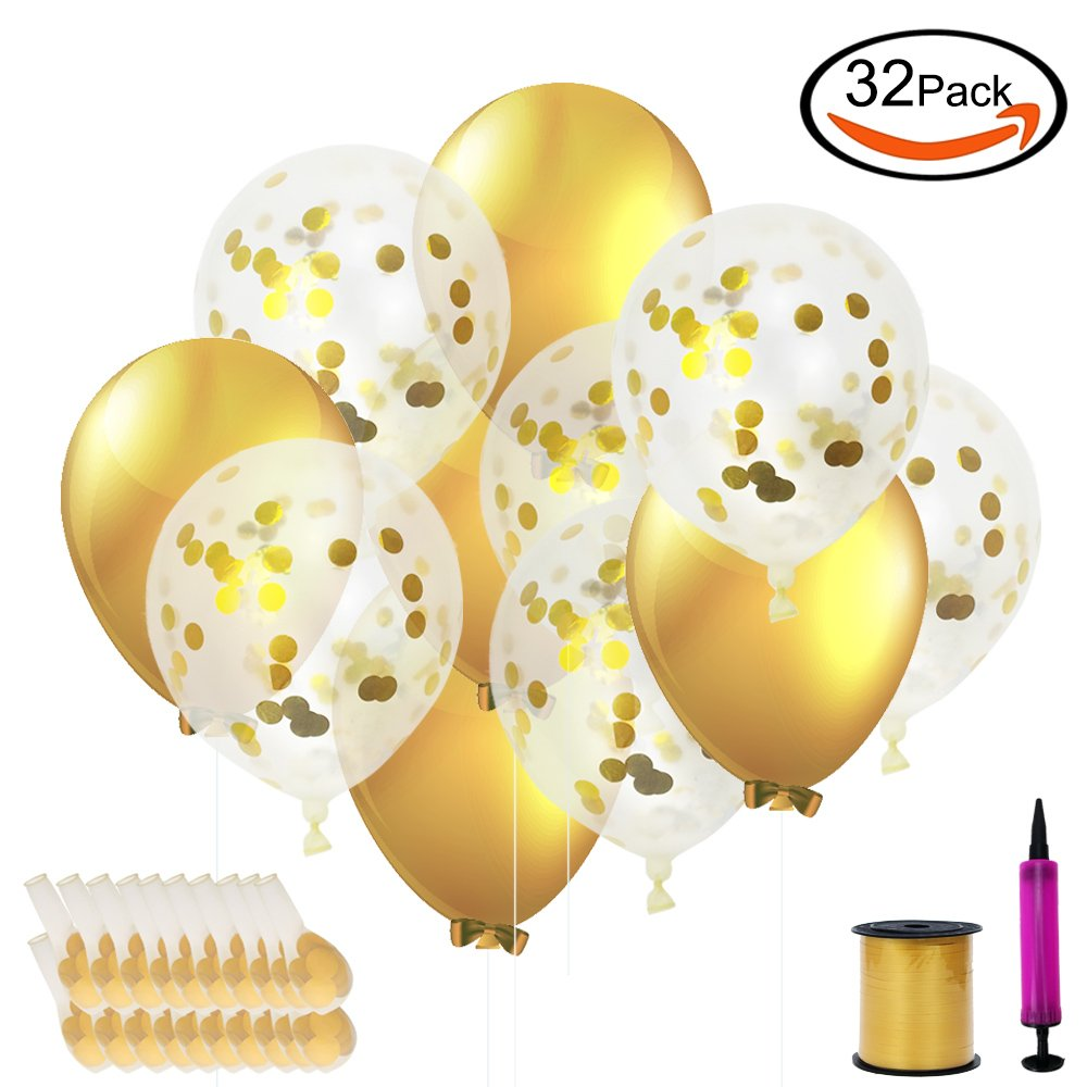 SERONLINE 20pcs 12-inch Gold Paper Balloons and 10pcs 10-inch Gold Balloons, with Balloon Ribbon and Pump, for Wedding and Party Decoration