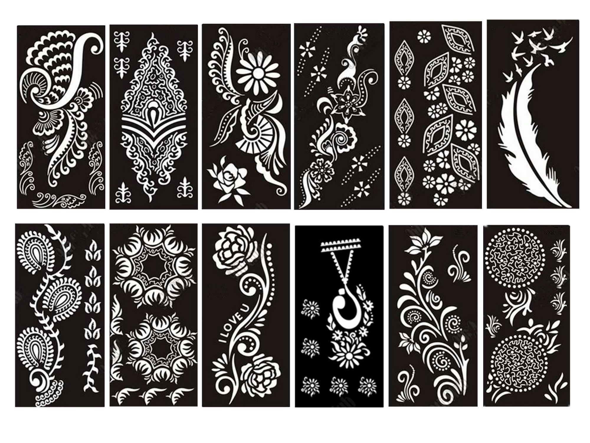 PACK of 12 Sheets Self-adhesive Tattoo Stencils Template for Henna Tattoo Body Art Painting Glitter Tattoos Airbrush Tattoo