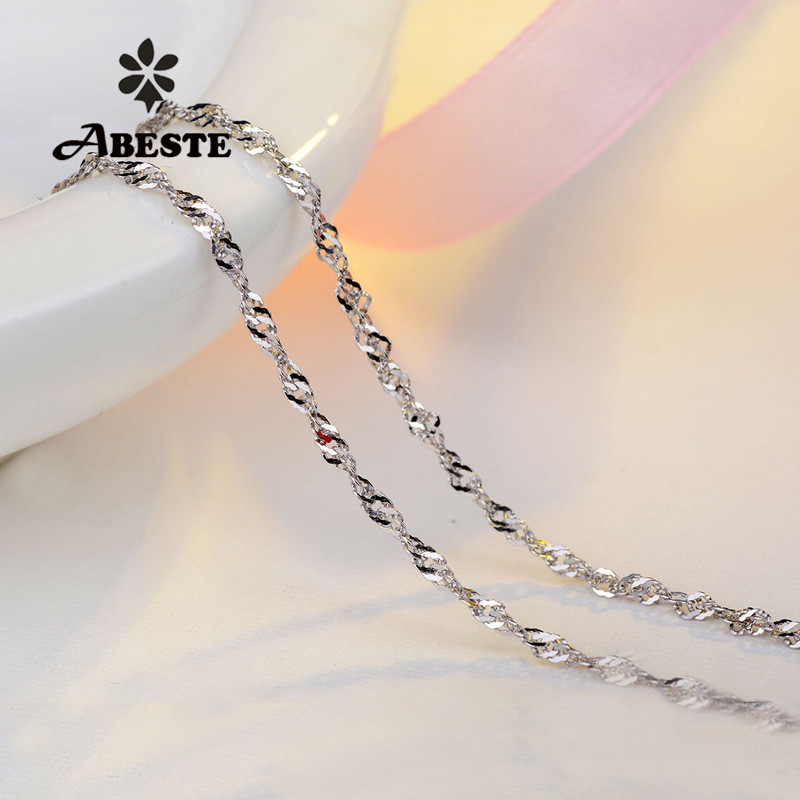 ABESTE Wholesale Fashion Jewelry 925 Sterling Silver Twist Chain for Necklace Classic Style