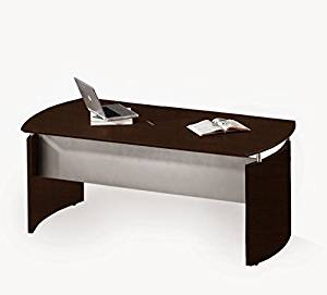 """Mayline 72"""" Table Desk W/Center Drawer 72""""W X 36""""D X 29.5""""H 1"""" Thick Work Surface W/Distinct Beveled Edge Silver Modesty Panel Curved End Panels - Mocha"""