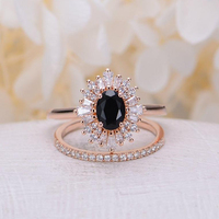 Vintage Oval Cut Black Diamond Engagement Ring Rose Gold Halo Diamond Wedding Jewelry