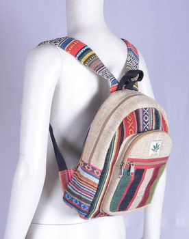 Trendy Teenage  Kids High Quality Himalayan Wild Organic Pure Hemp Canvas Handmade Bohemian Laptop Tab Case Backpack HBBH 0077