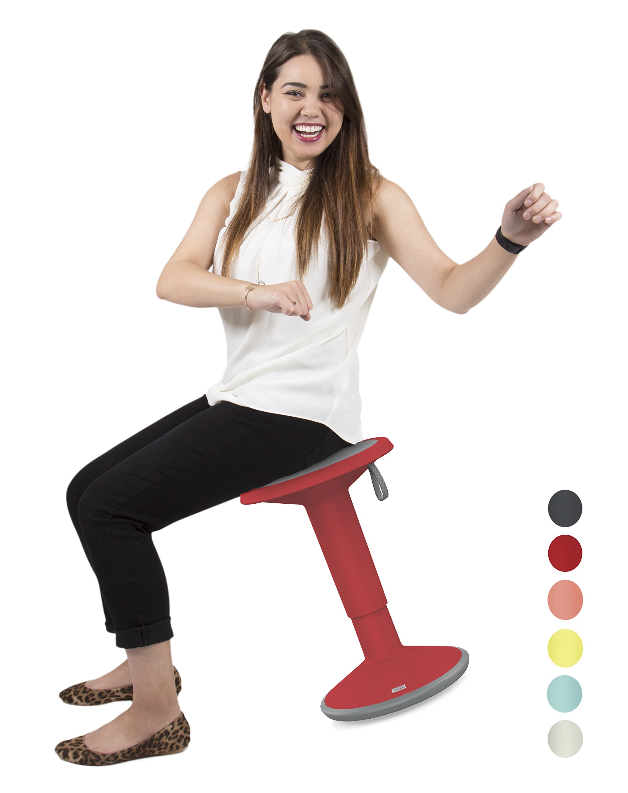 Stand Steady Active Motion Stool   Wobble While You Work!   Premium Ergonomic Stool/Ergonomic Office Chair for Comfort & Back Pain Relief (Red)