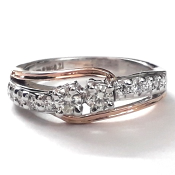White & Rose Gold Diamond Ring with Natural Diamonds