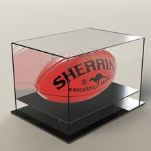 Luxe Acryl Gespiegelde Voetbal Display Case Clear <span class=keywords><strong>Teller</strong></span> Lucite Risers Golfbal Display Case