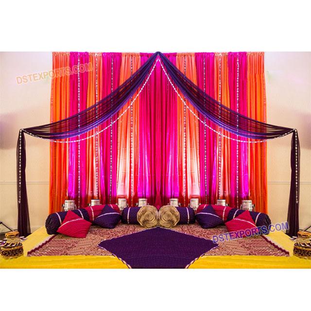 Simple Wedding Mehndi Night Stage Decoration Mehndi Stage Decoration Muslin Night Stages Decor View Mehndi Stage Decoration Dst Exports Product