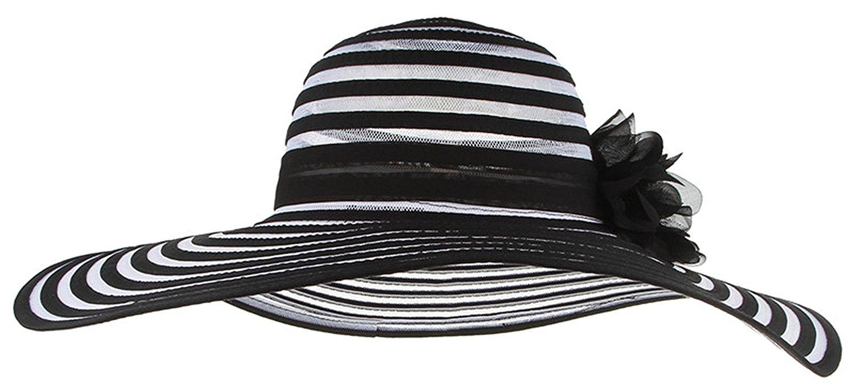 5b60b8a985c Get Quotations · Miki Da Striped Wide Brim Beach Hats Elegant Ladies Floppy Summer  Hat Flower Fashion Sun Hat