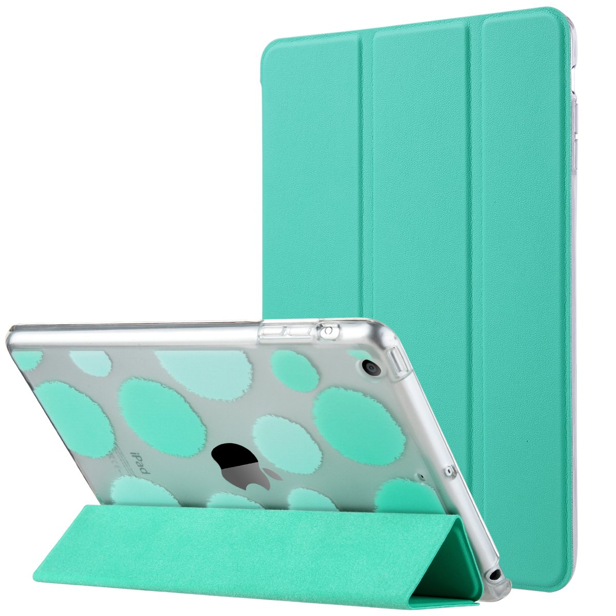 iPad Mini 3 Case,iPad Mini 2 Case,iPad Mini Case,ULAK Ultra Slim Fit Bumper Smart Case Stand for Apple iPad Mini 1/2/3 Colorful Clear Back Cover Lightweight with Auto Sleep/Wake Function,Mint Green