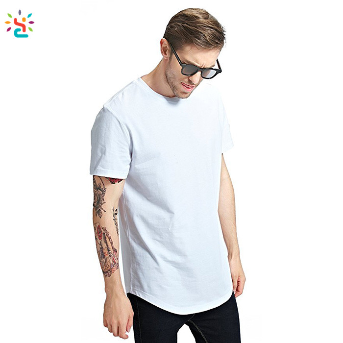 2019 Nieuwe Trending Custom Drop Staart T Shirts Plain Cotton Mannen Gebogen Zoom Lange Tee Shirts