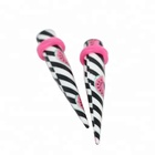 Acrylic taper white and black pattern piercing basic jewelry taper set
