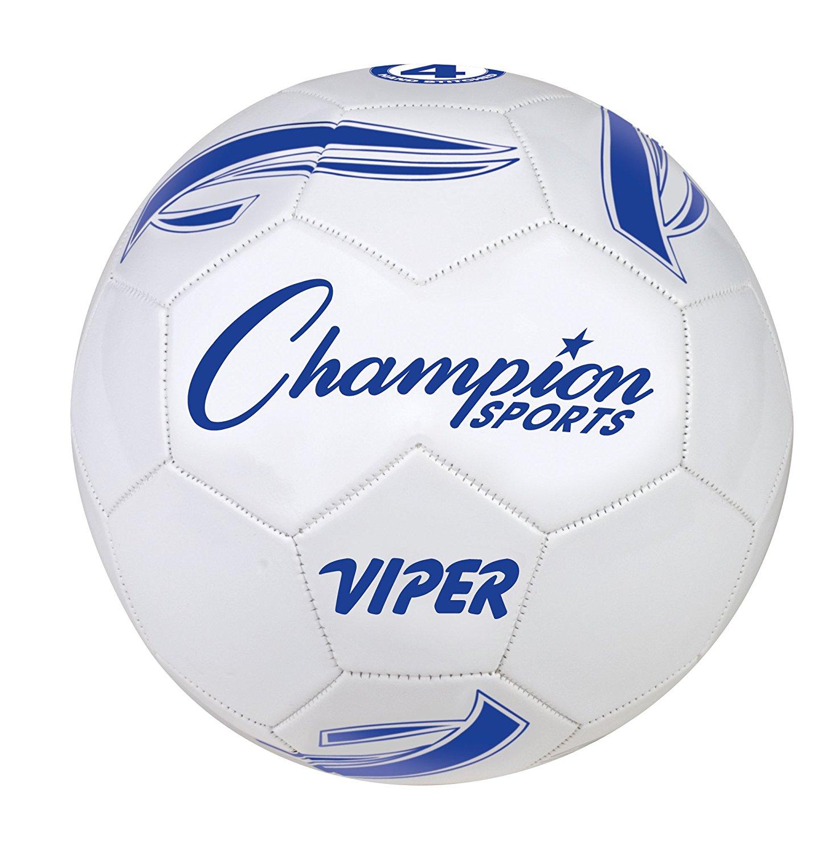 Champion Sports VIPER4 VIPER Soccer Ball, Size 4, White (CSIVIPER4)