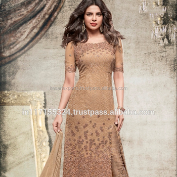 d11fae05a3 Golden Net Party Wear Embroidered Work Churidar Suit - Buy Pakistani ...