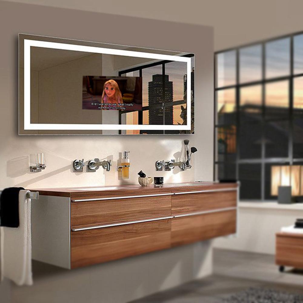 ห้องน้ำ LED รูปสี่เหลี่ยมผืนผ้าสมาร์ททีวีติดผนังกระจก