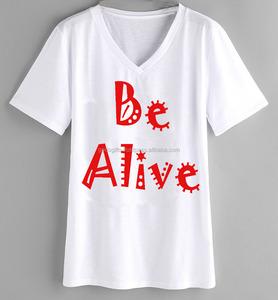 fashion v-neck t-shirt wholesale alibaba indian supplier Custom Printed OEM v neck T-shirt