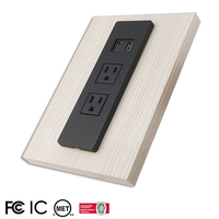 Dual AC Desktop Power Strip Socket USB Extension Cord Embedded in Furniture