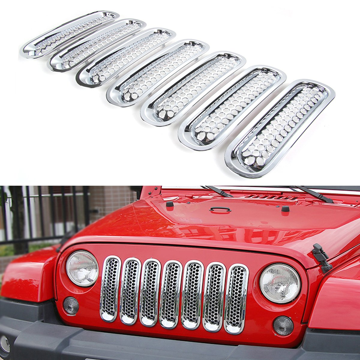 RT-TCZ Upgrade Version Clip-on Grille Front Mesh Grille Inserts For Jeep Wrangler 2007-2016 (Chrome)