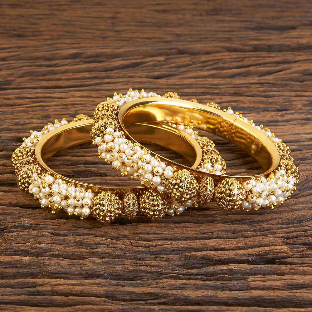 Gold plated Classic Bangles with small pearls 17961 Moti