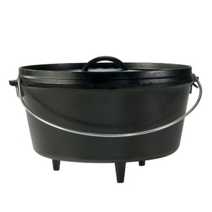 Preseasoned cast iron camping dutch oven with legs