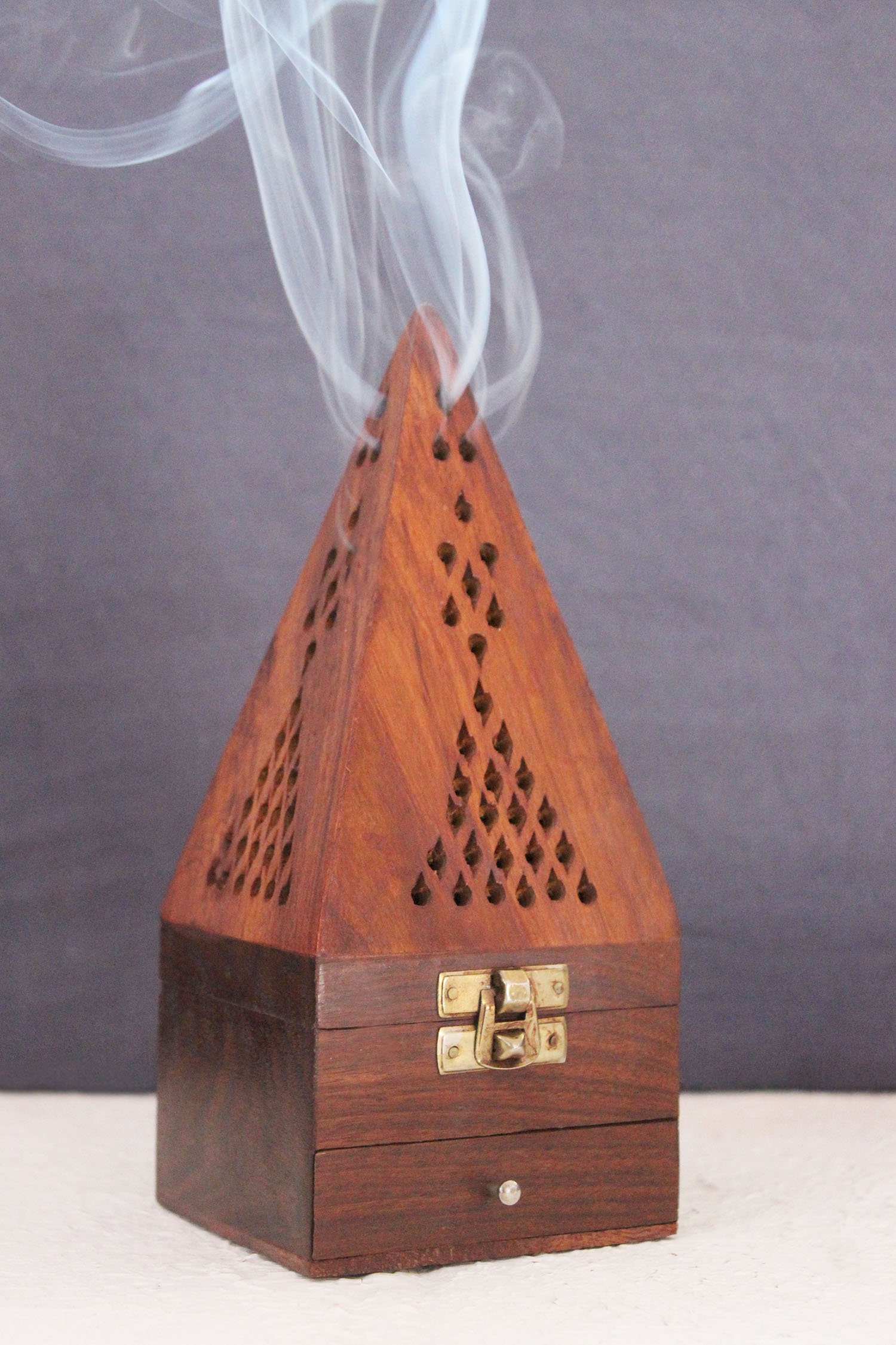 Angled Roof Top Out Ash Catcher Govinda Carved Wood Square Tower Incense Burner w//Slide