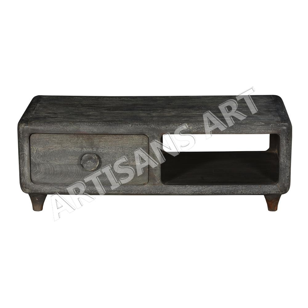 Solid Mango Wood 1 Drawer Coffee Table In Black Color Sand Blasting Finishsolid Mango Wood Coffee Table Supplier Manufacturer Buy Wooden Coffee