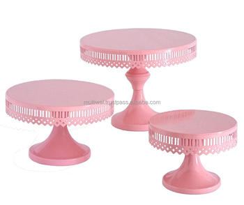 Modern Cake Stands Round Stand For Baby Shower Pink Color Set Of 3 Pc
