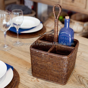 hand woven brown rattan condiment caddy kitchen accessories - Condiment Caddy