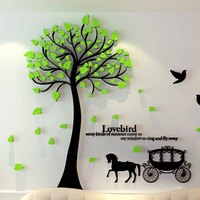 three-dimensional crystal tree wall stickers room decor 3d wall stickers decal home decoration