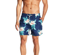 Wholesale High Quality 100% Polyester Drawstring Waist Custom Floral Printed Men Swim Shorts