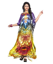 High Quality New Women's Satin Silk 3D Digital Printed Kaftan Kurtas 2018 (Non-See Through)