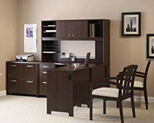 "Bush L Shaped Desk W/Hutch Natural Cherry Finish Desk: 30 1/4""H X 58""W X 74 1/2""D Hutch: 36 3/4""H X 58""W X 14 3/4""D Pedestal: 30 1/4""H X 16""W X 20""D - Mocha Cherry"