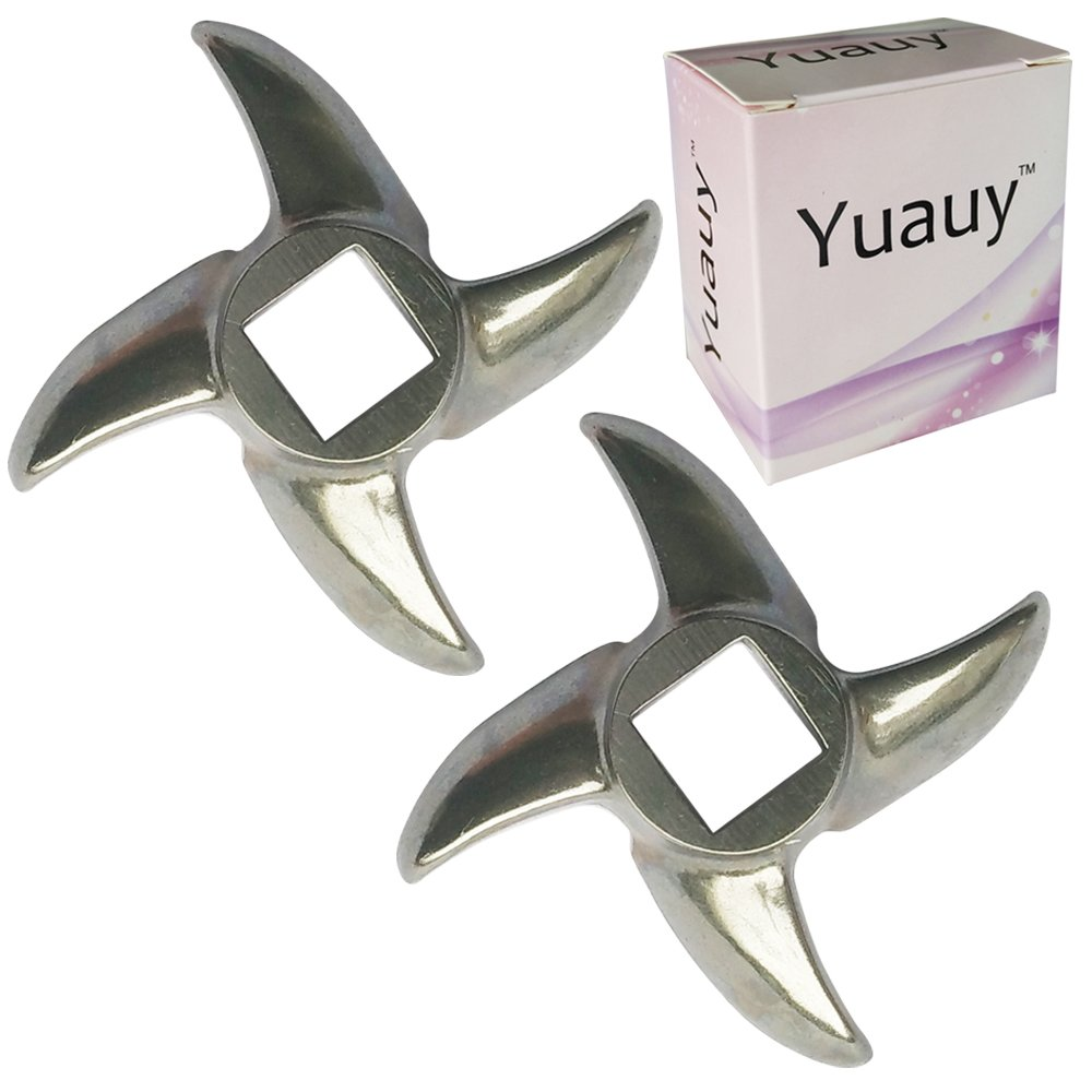 Yuauy 2 PCs Size #12 Chef Meat Grinder Stainless Steel Cutter Knife Blade for Electric or Manual